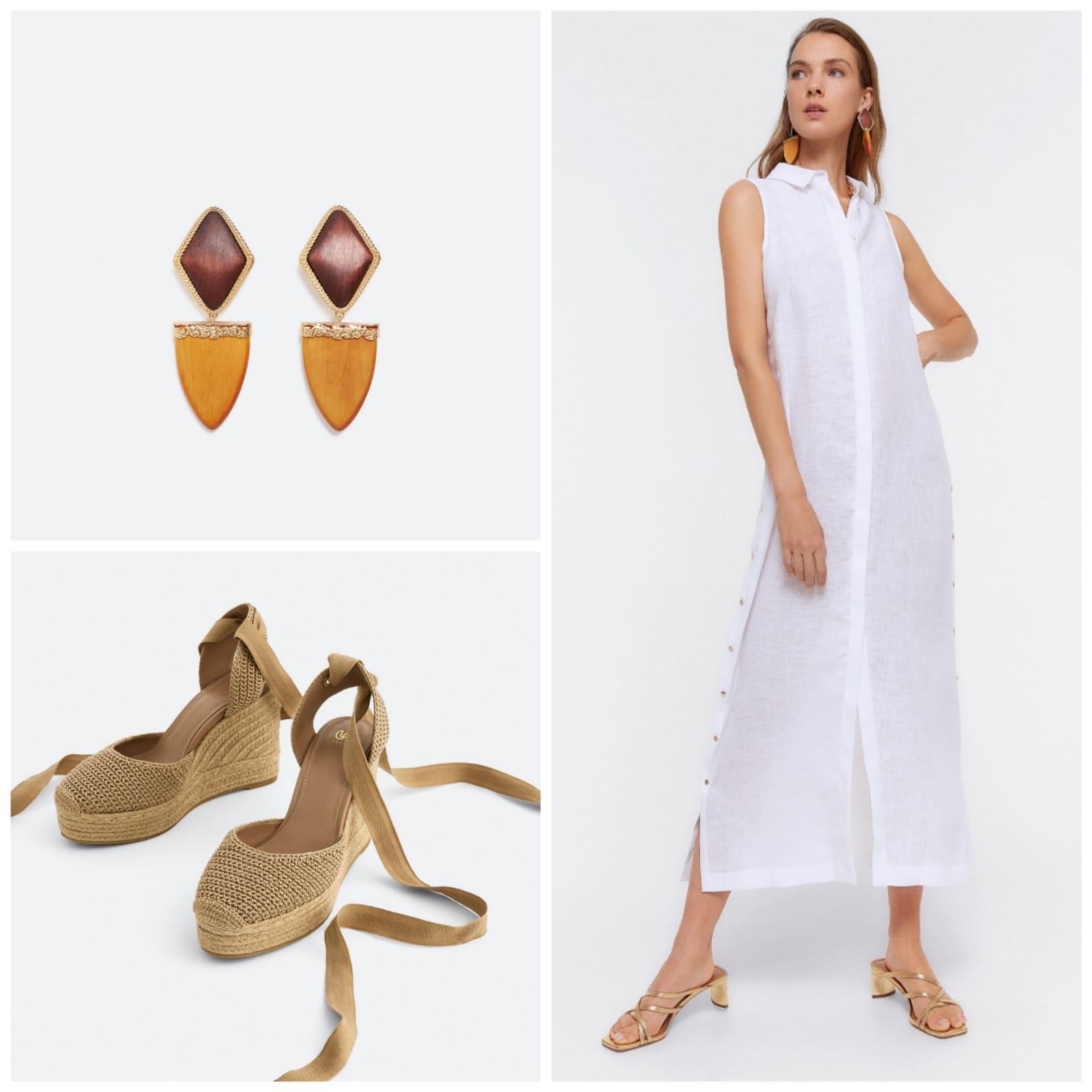 Total look Uterquüe: vestido de lino, esparteñas y pendientes