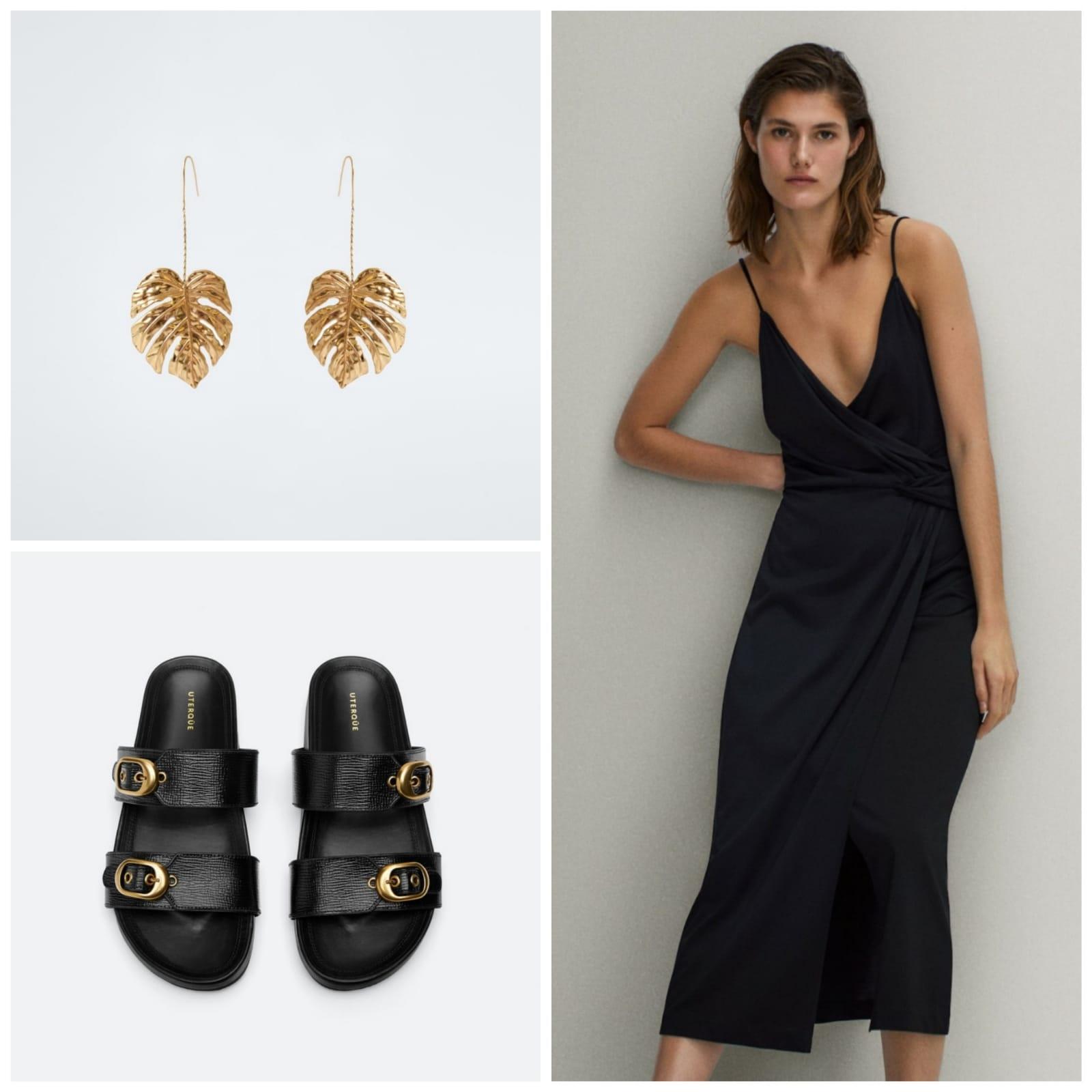 Look combinado: vestido de massimo dutti, zapatos de Uterqüe y pendientes de Zara
