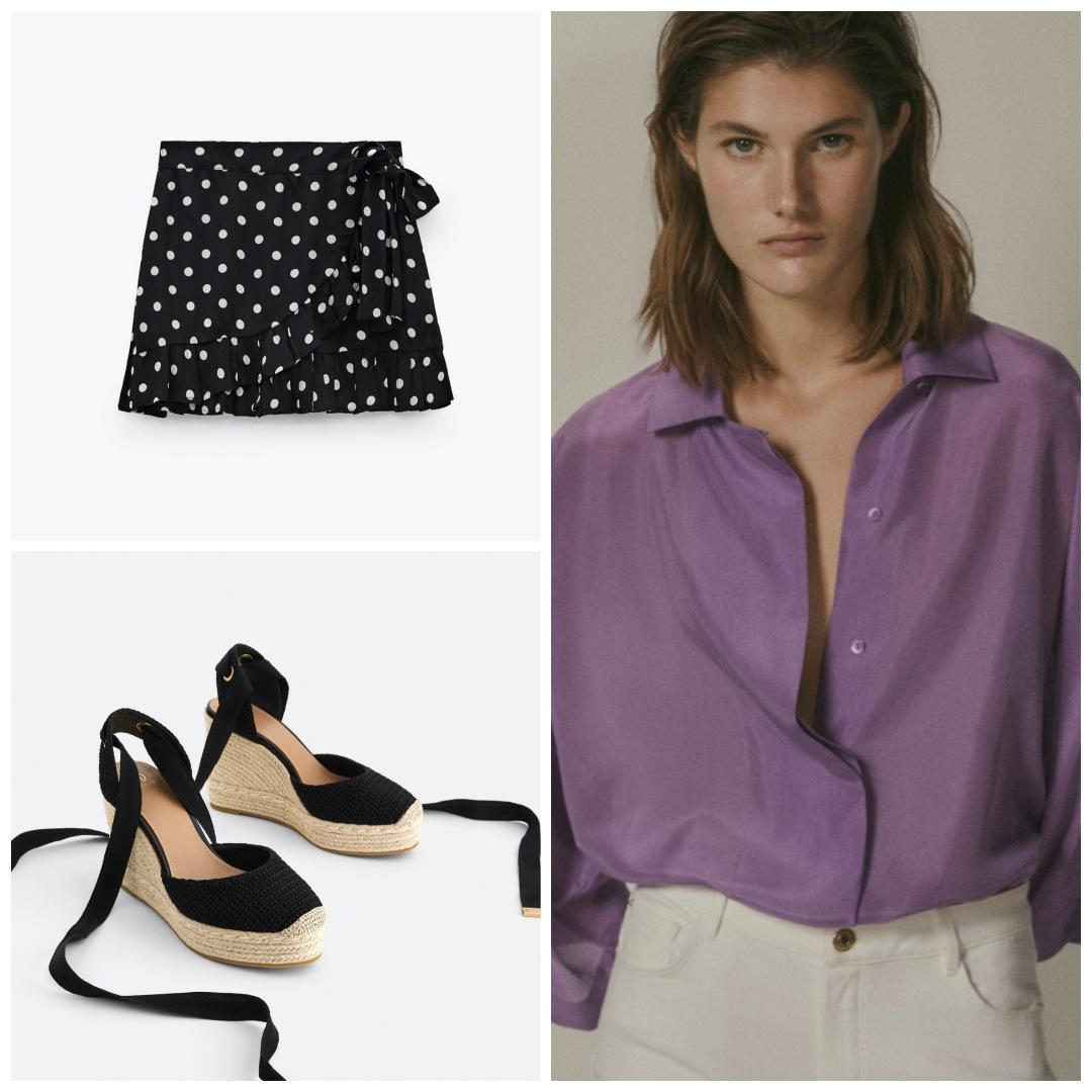 Look combinado: blusa massimo dutti, falda de zara y cuñas de uterqüe
