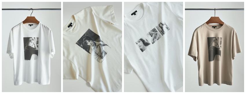 Colección de 4 camisetas de la marca Massimo Dutti con imágenes de la cantante, actriz e icono de la moda Jane Birkin.
