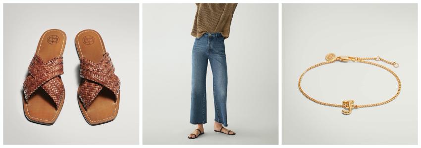 Propuesta de look formado por sandalias cruzadas trazadas, pantalones vaqueros rectos y pulsera con letra J de Massimo Dutti.