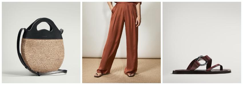 Propuesta de look formado por bolso bandolera combinado con piel, pantalones fluidos y sandalias planas con hebilla de Massimo Dutti.
