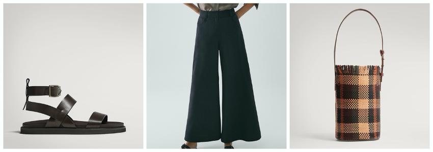 Propuesta de look formado por sandalias planas con tiras, pantalón culotte de edición limitada y bolso bucket de piel trenzada de Massimo Dutti.
