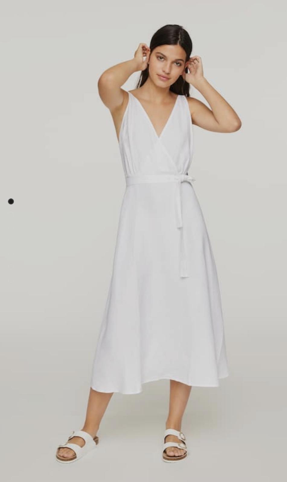 Vestido tirantes de tejido de lino blanco