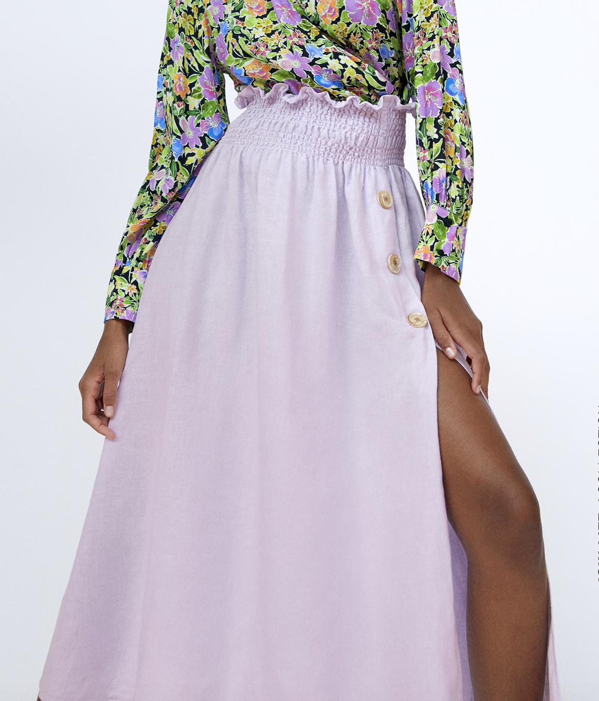 Falda de lino de Zara