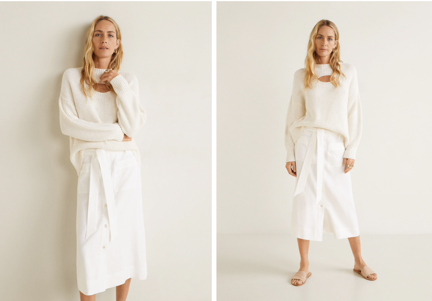 Falda de lino de Mango