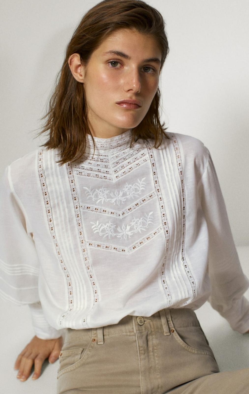 Camisa bordada de algodón y lino