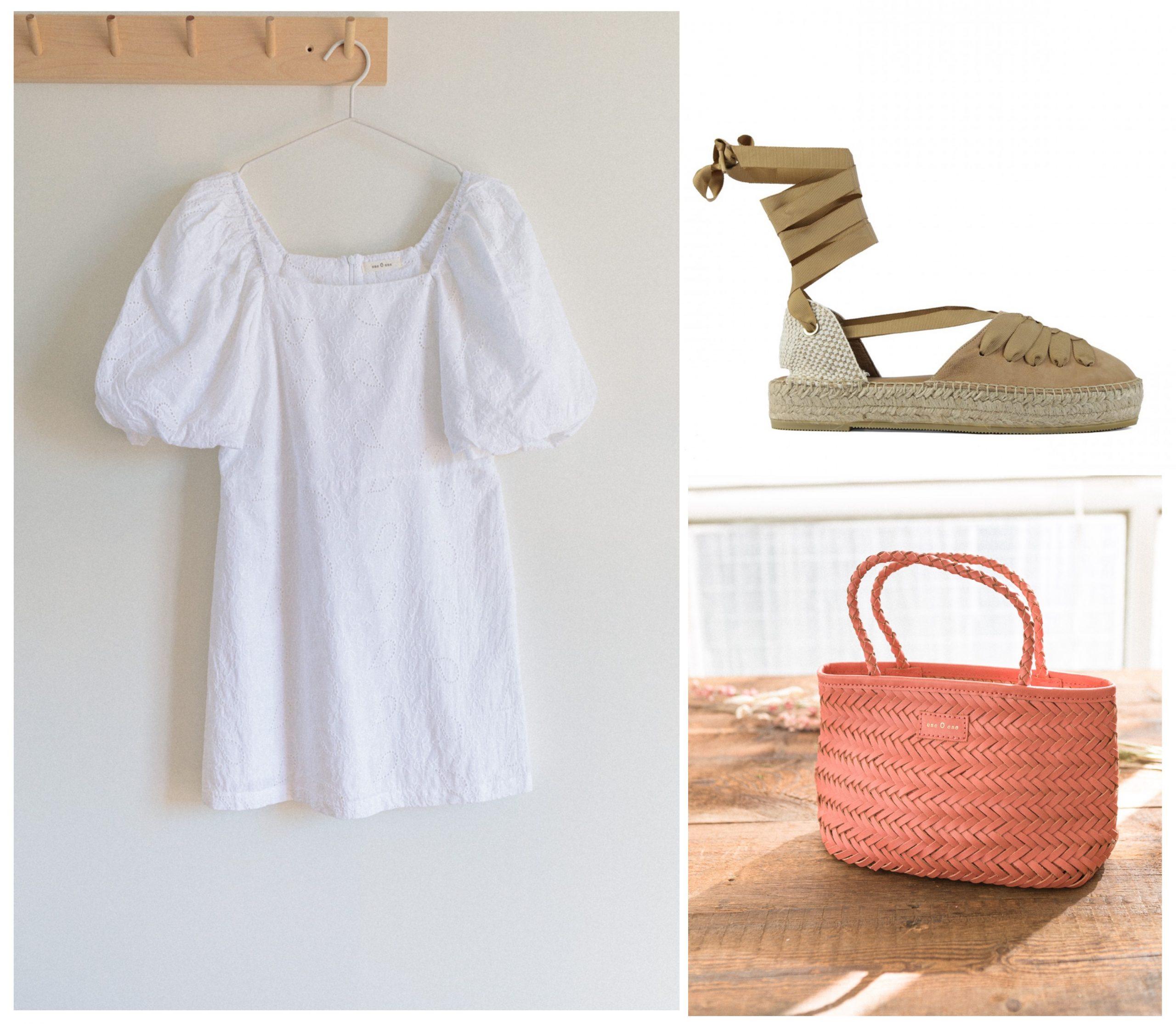 Look completo veraniego formado por vestido blanco, un bolso de color rosa y unas alpargatas de esparto.