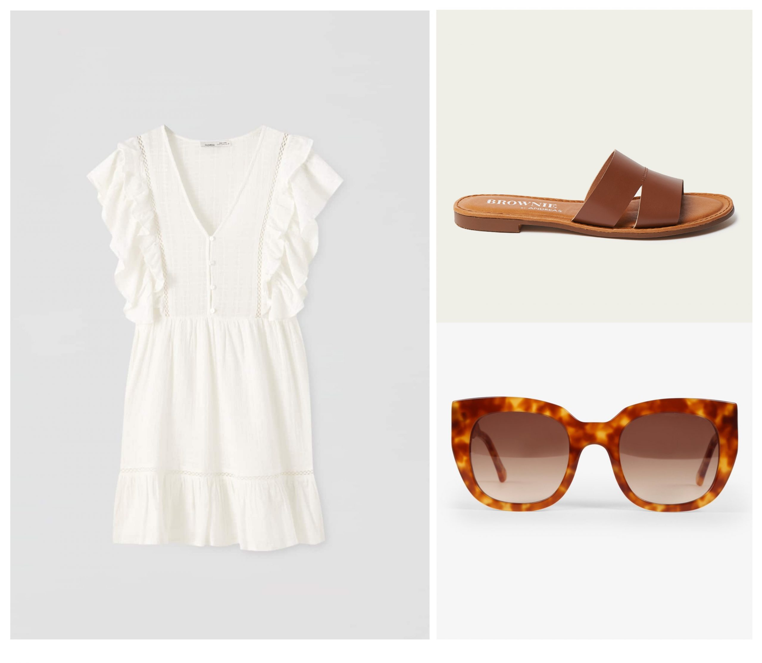 Total look para verano formado por un vestido blanco con volantes, unas gafas de sol y unas sandalias marrones planas.