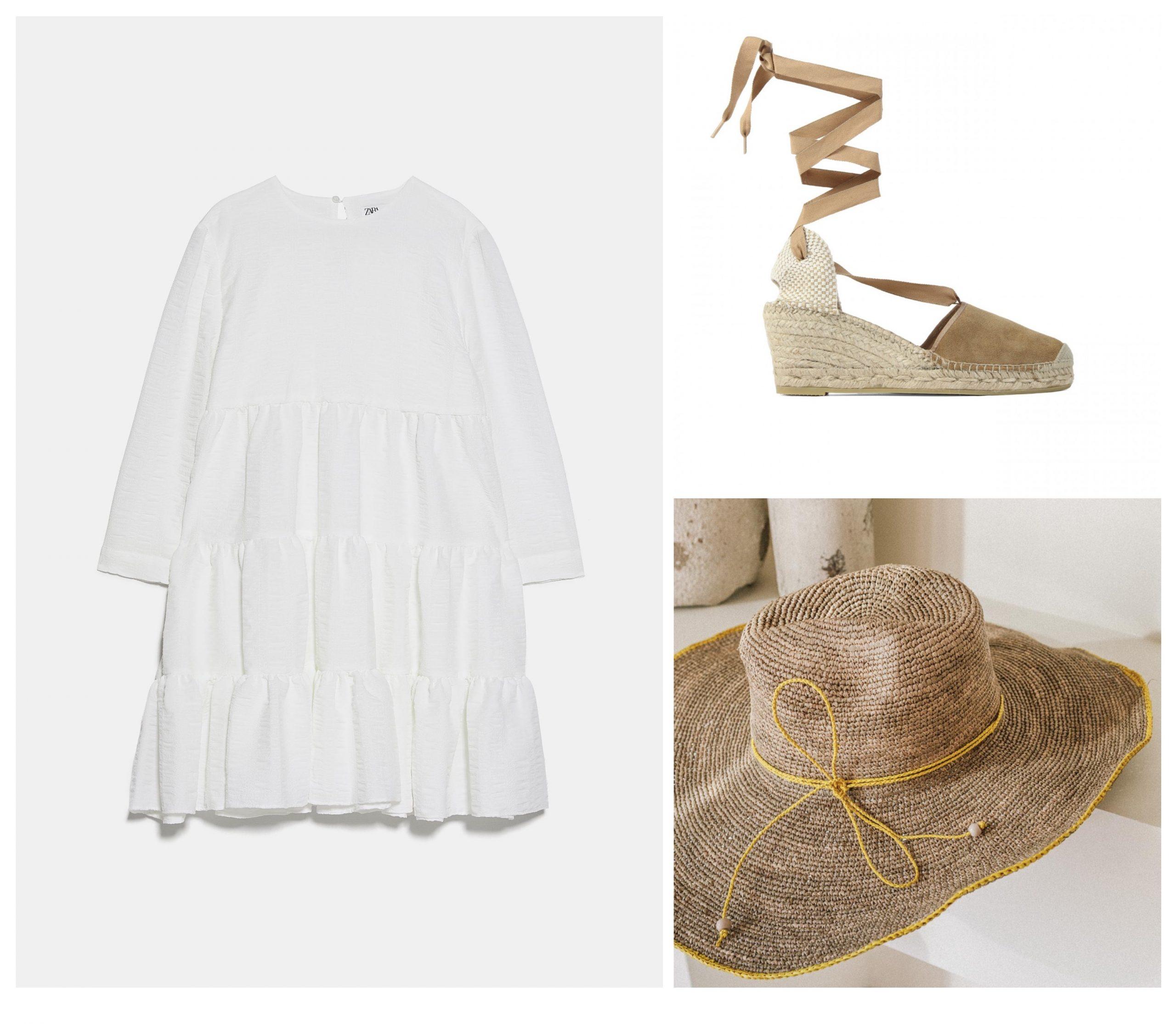 Total look para verano formado por un vestido blanco, cuñas de esparto y un sombrero de racia.