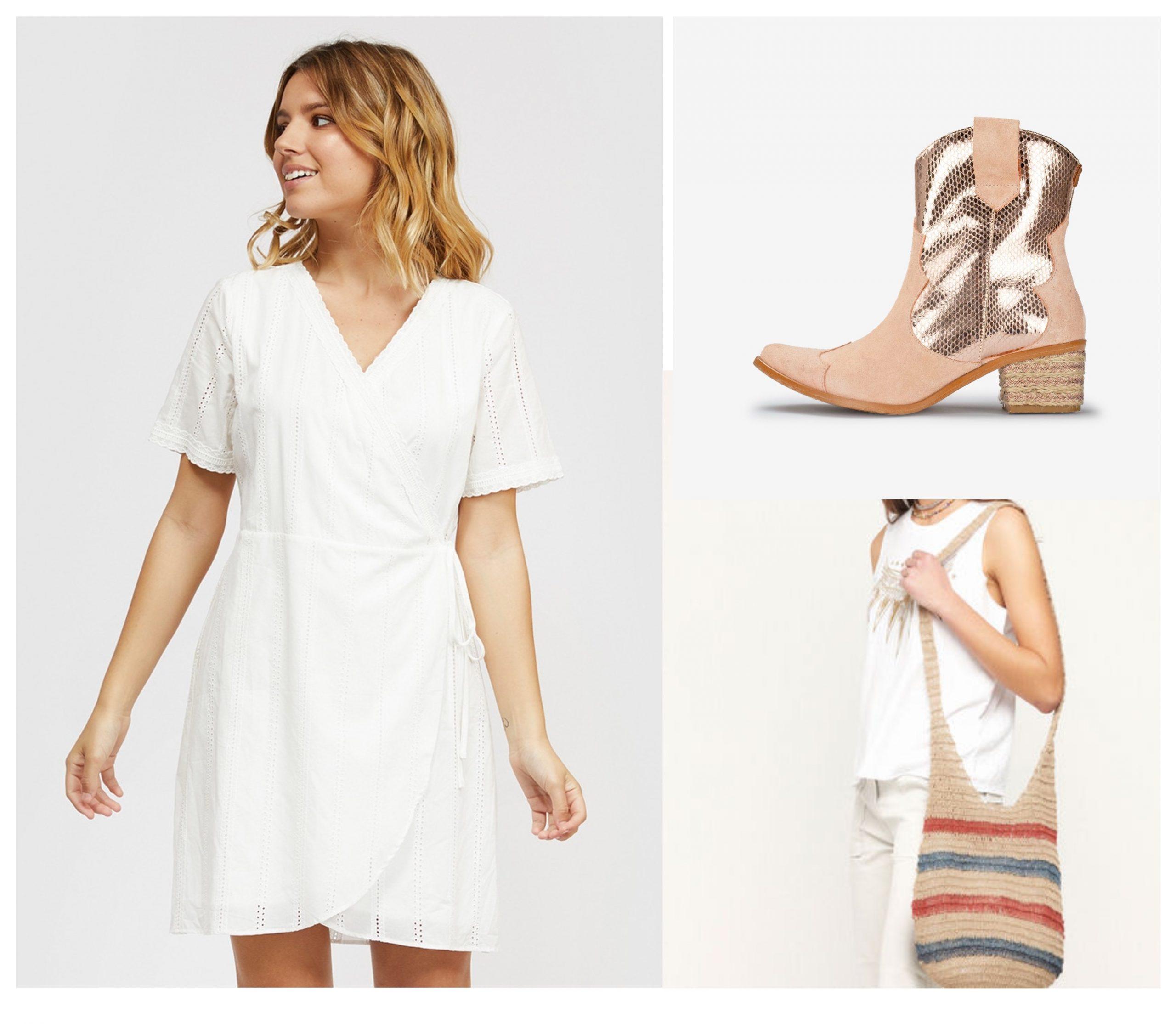 Total look para verano formado por un vestido blanco corto de encaje, unos botines de cowboy y un bolso de nicoli