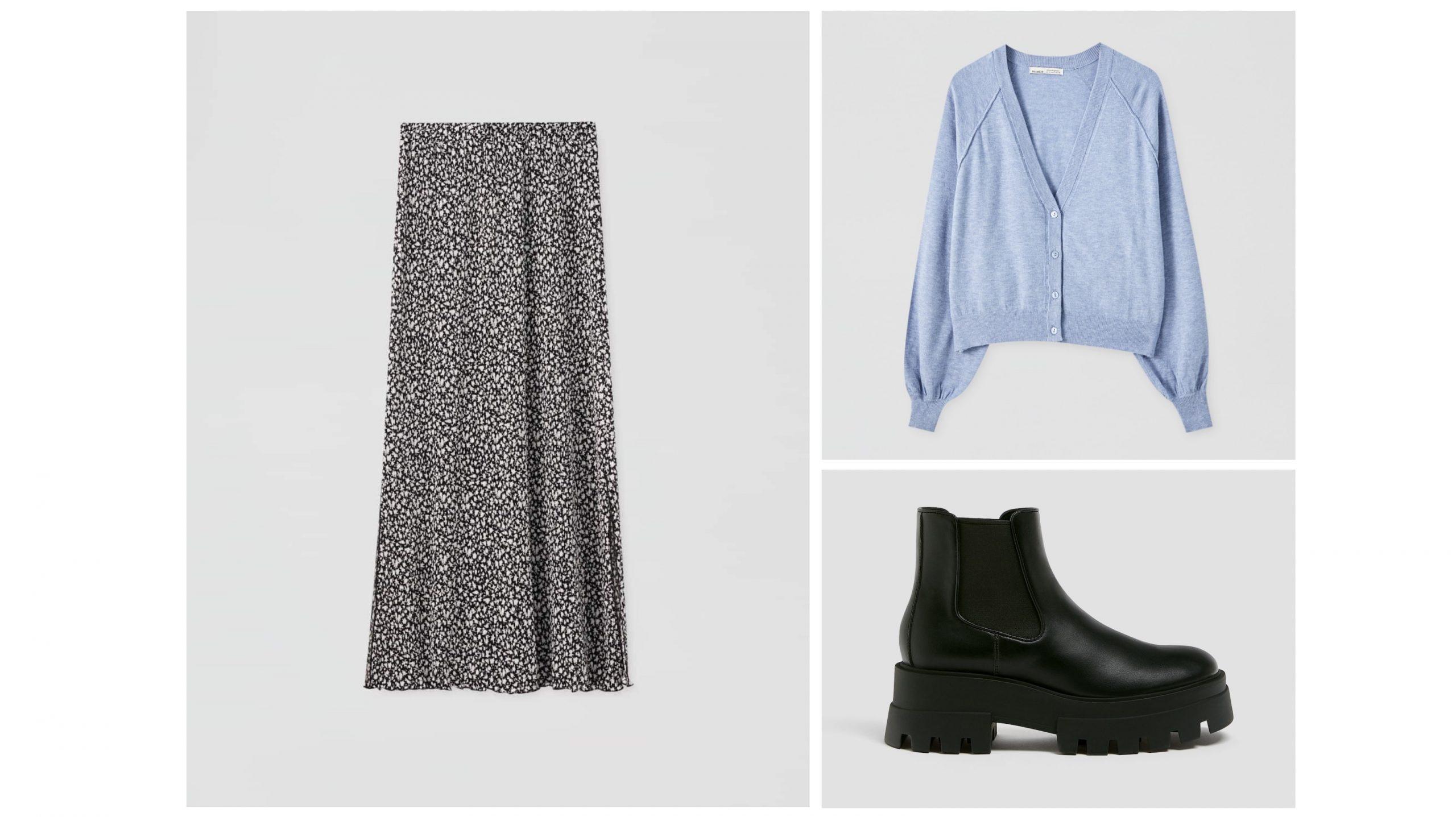 Look formado por falda midi con estampado de flores, una chaqueta color azul claro y botines de plataforma negros con detalle de goma en el lateral.
