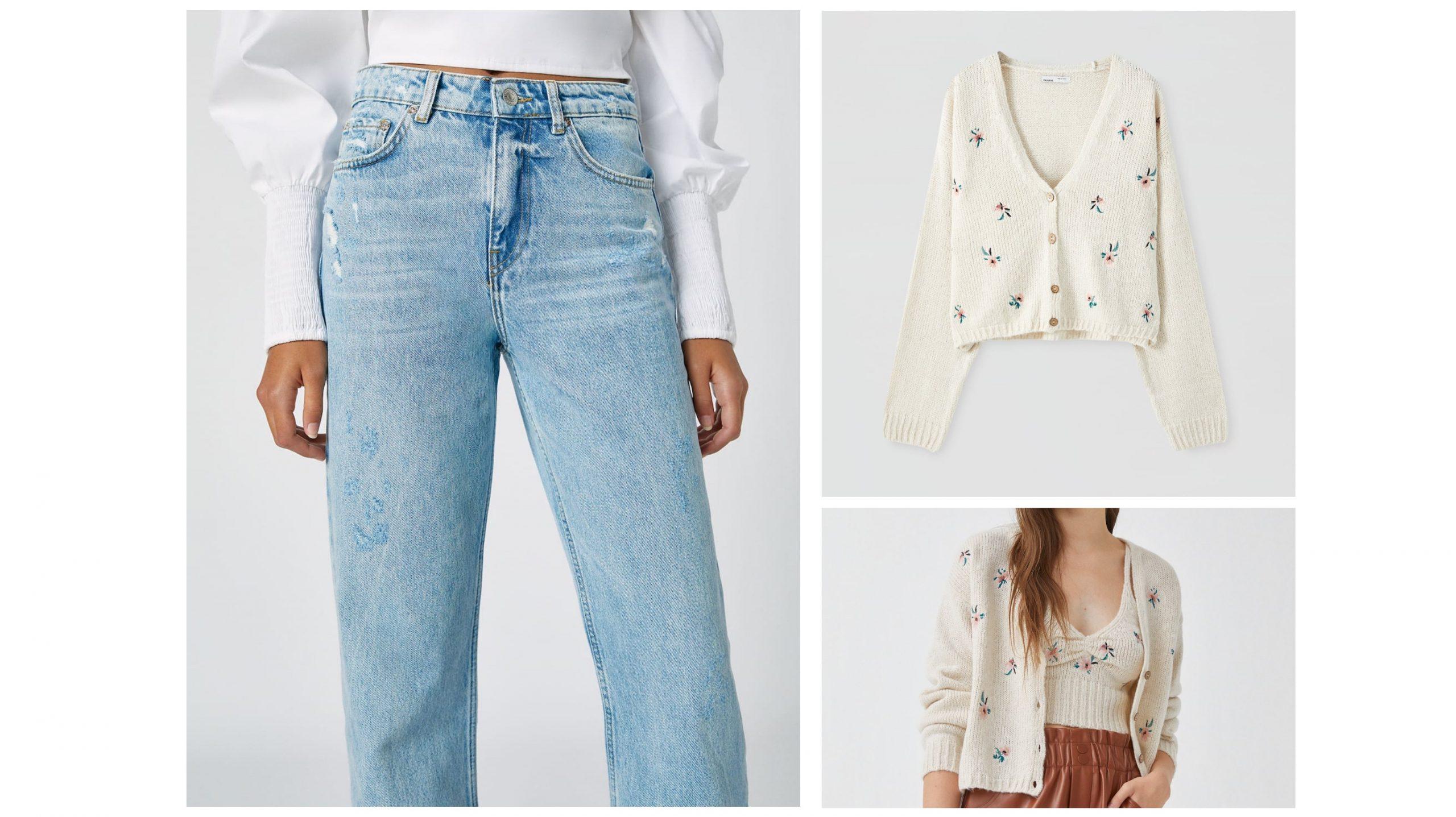 Total look de pull and bear formado por unos pantalones boyfriend, una chaqueta y un top de punto con estampado de flores a conjunto.