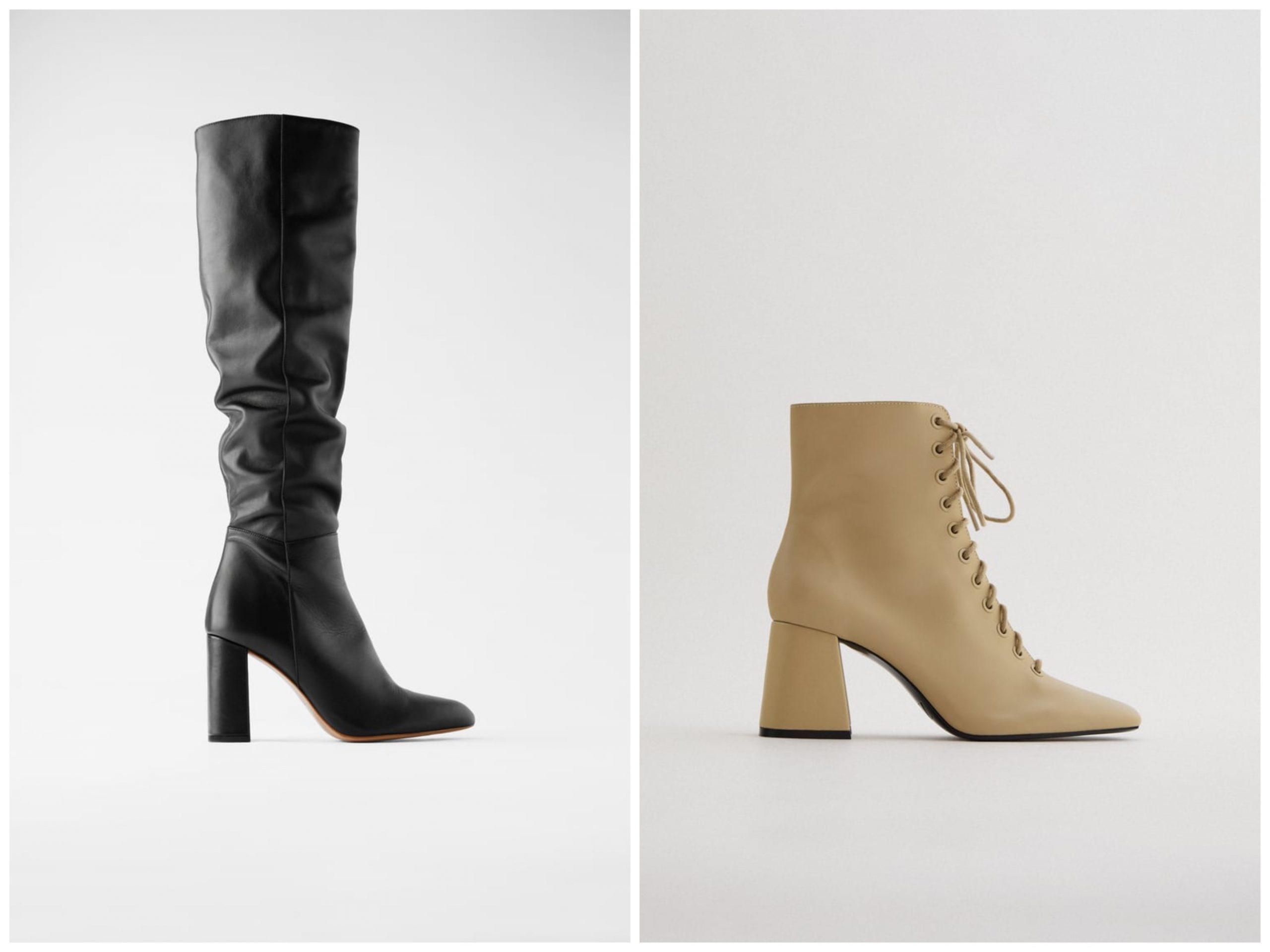 Bota de tacón de piel y caña alta/ Botín de piel acordonado de Zara