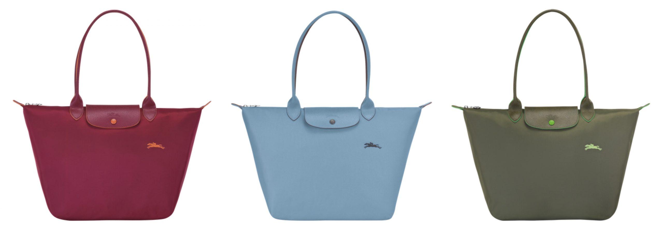 3 bolsos de la marca Longchamp, el primero de color burdeos, el segundo de color azul y el tercero de color verde.
