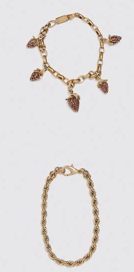 Pack de tobilleras doradas de Zara