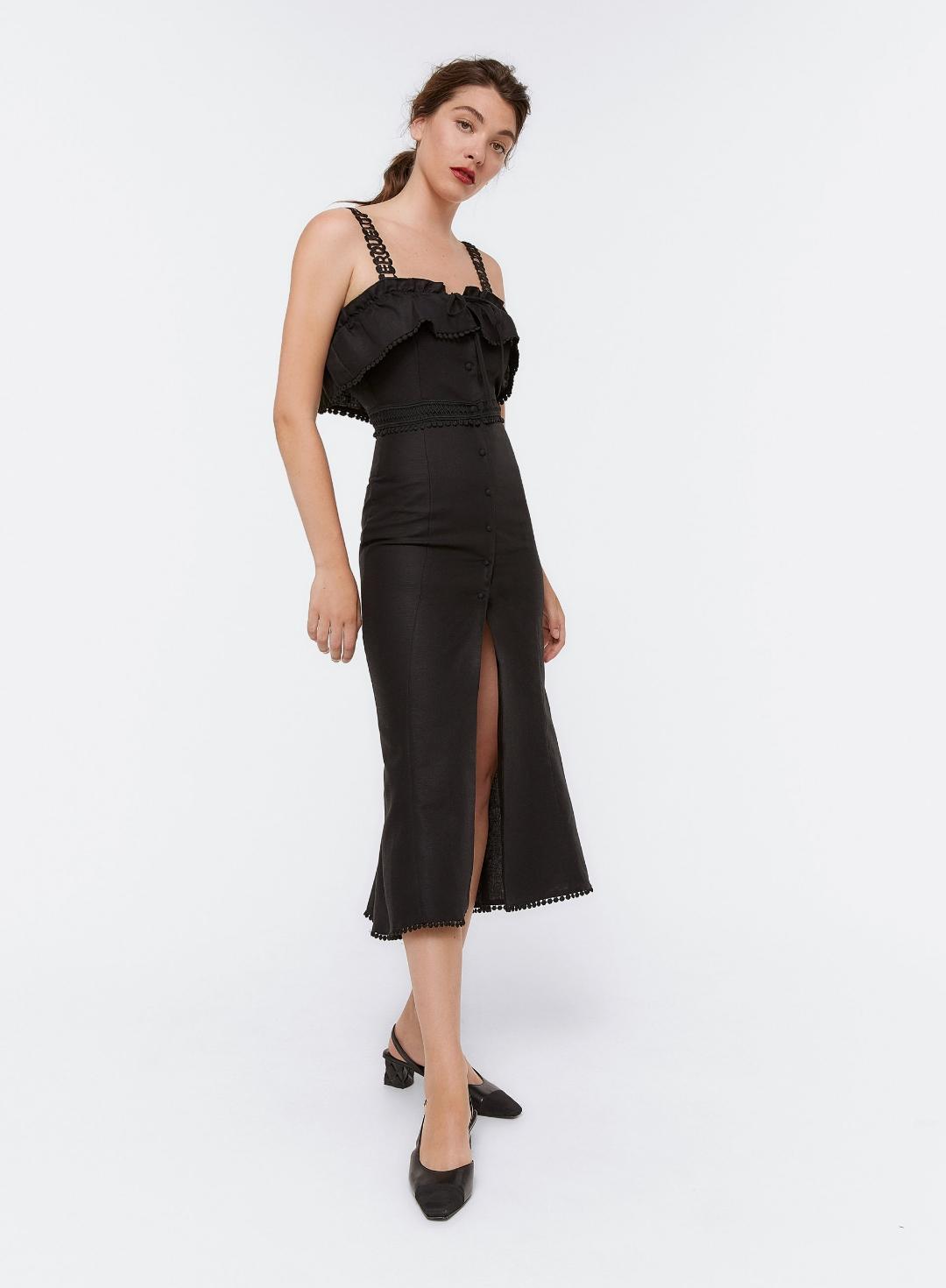 vestido midi negro logo marca