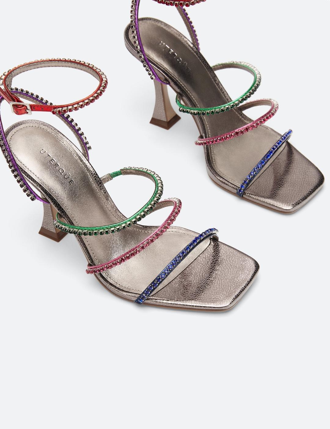 sandalias tiras finas multicolor
