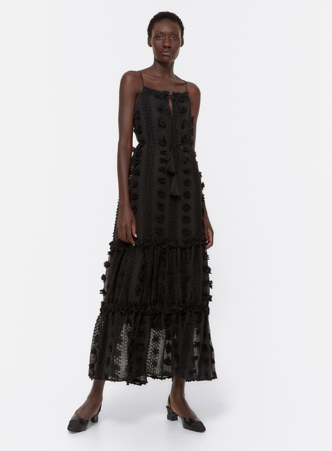 Vestido plumeti negro Uterqüe