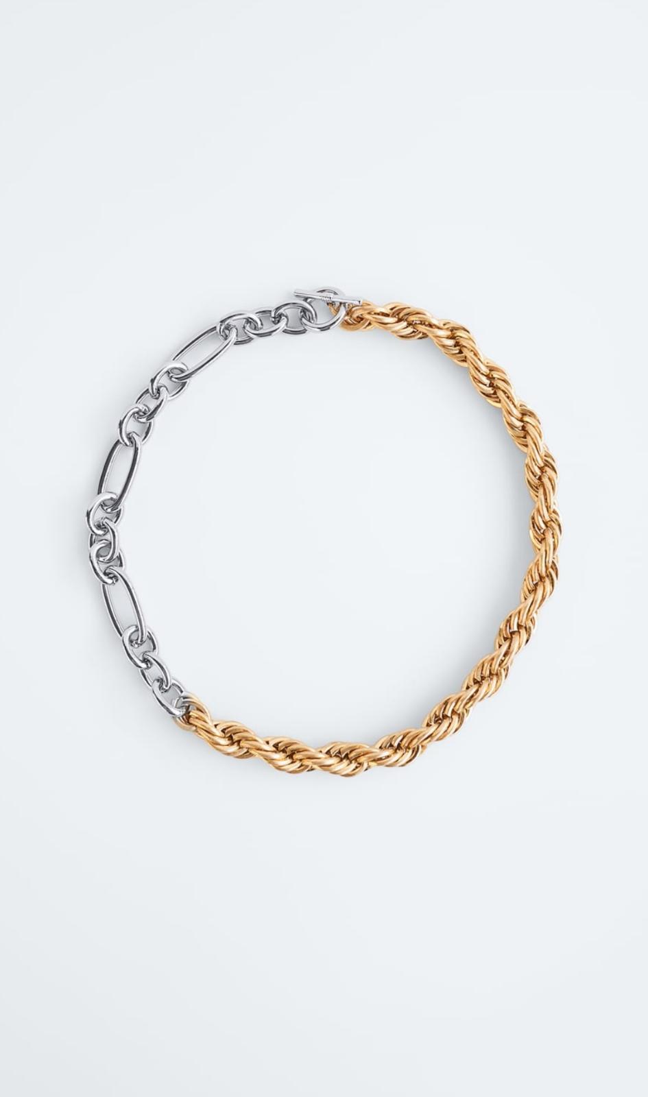 Collar metálico con eslabones combinados plateado y dorado 12'95€