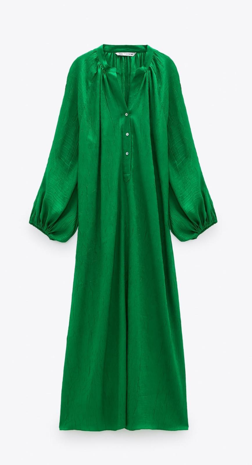 Vestido camisero satinado de Zara