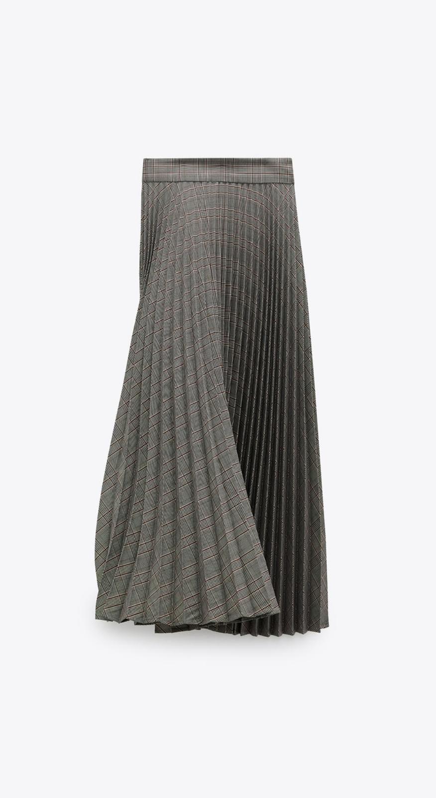 Falda plisada de cuadros de Zara