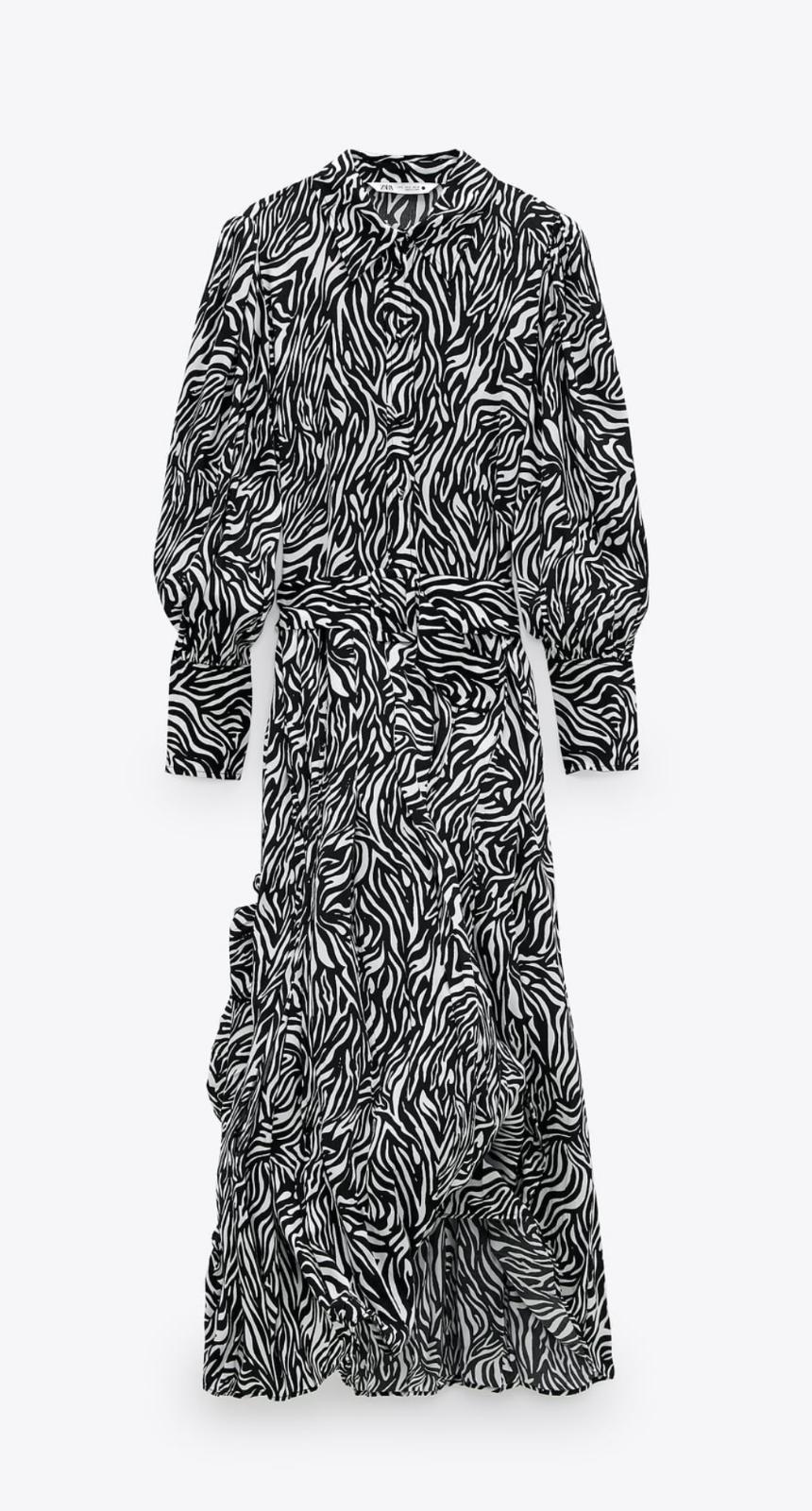 Vestido maxi de cebra de Zara