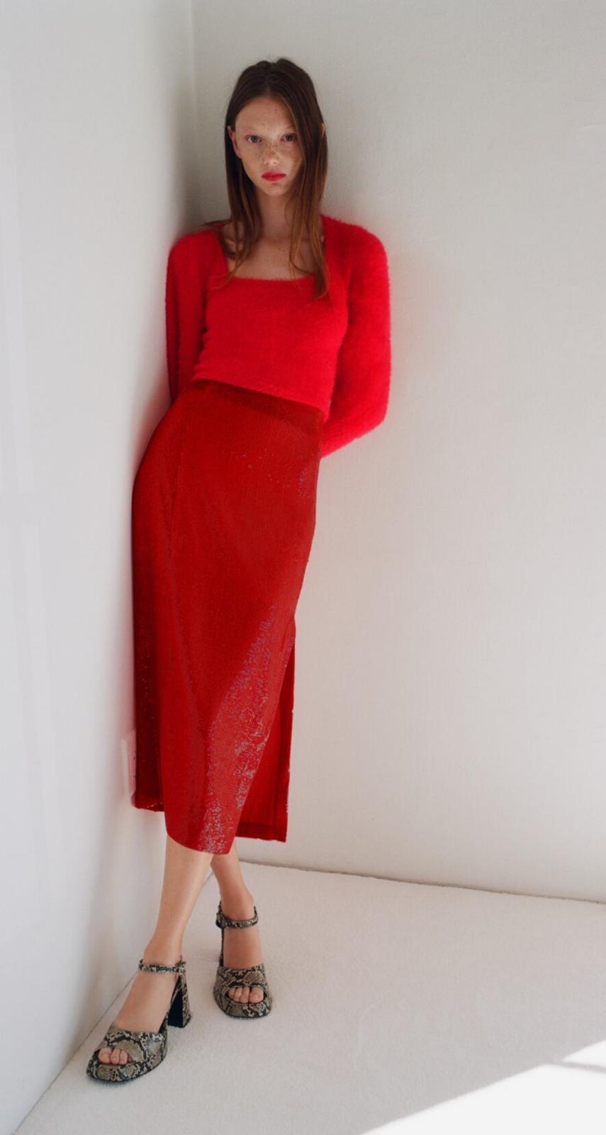 Falda midi lentejuelas de Zara