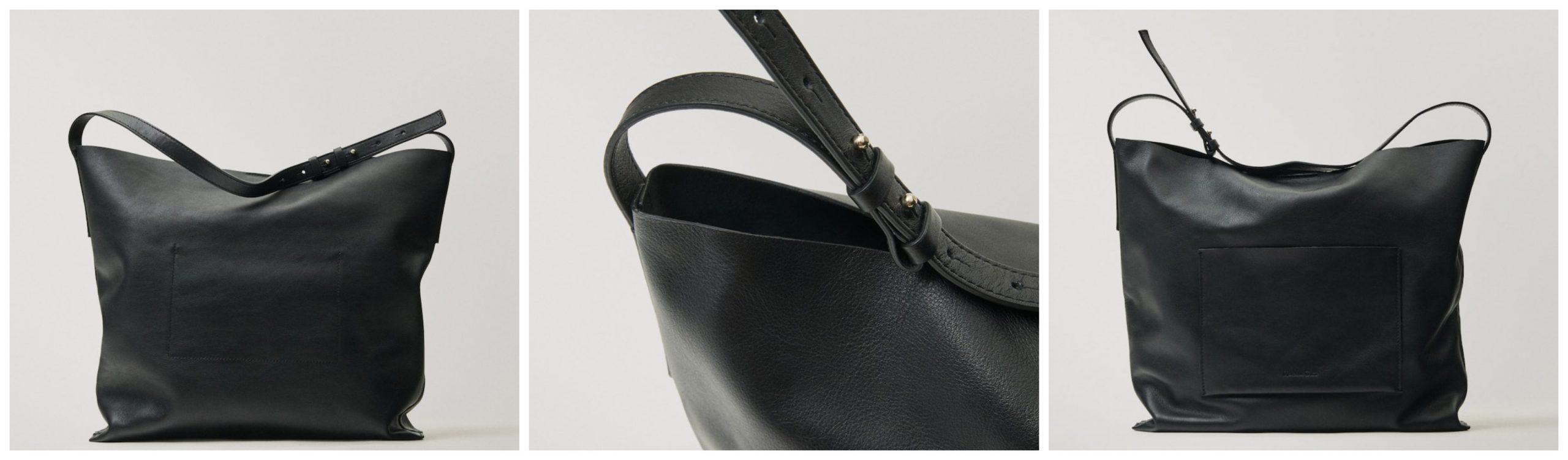 Bolso de piel de Massimo Dutti color negro con correa.