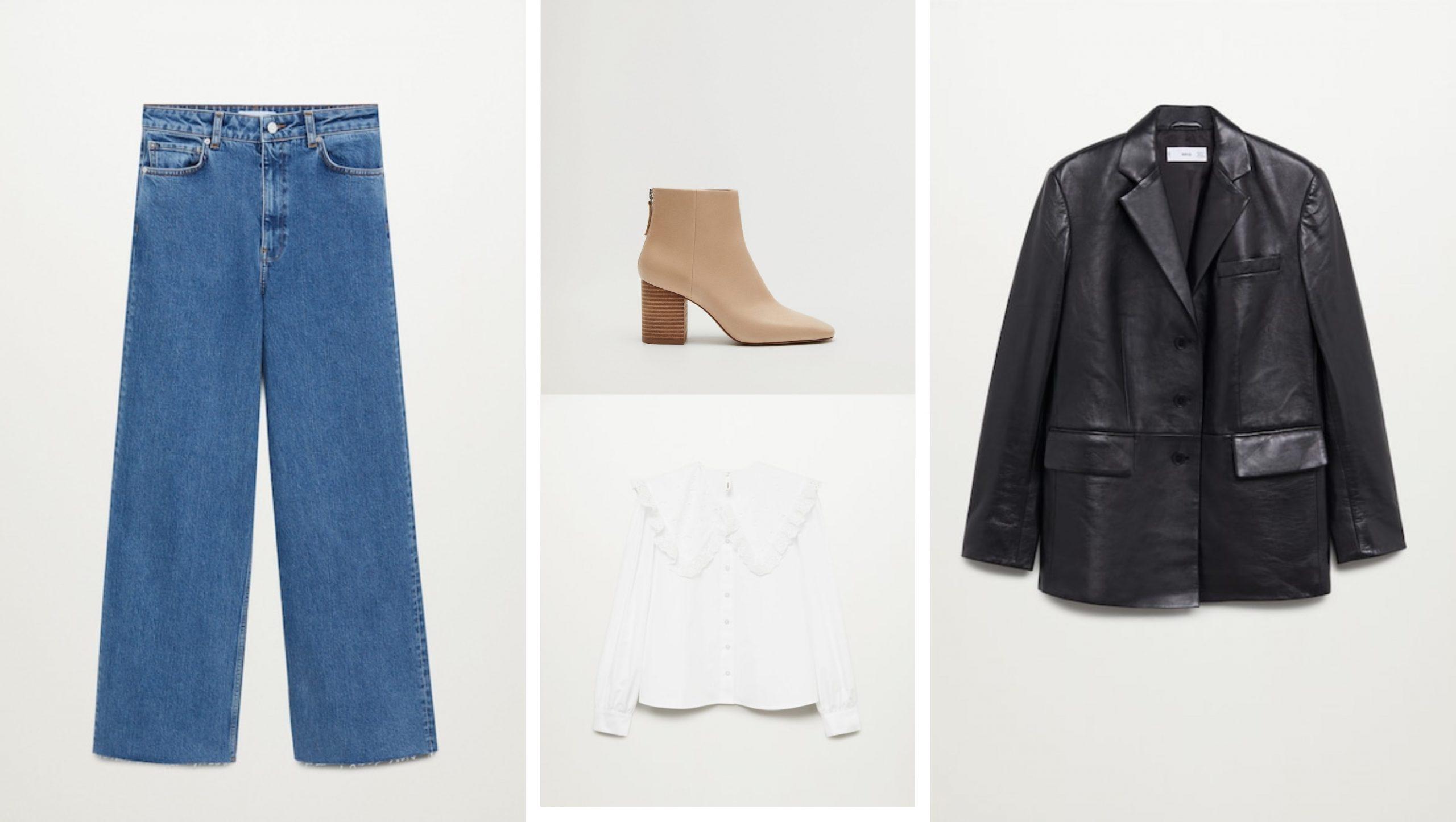 Conjunto de Mango formado por unos pantalones rectos vaqueros de tiro alto, botines de cuero color tierra, camisa blanca con volantes y americana de cuero negra.