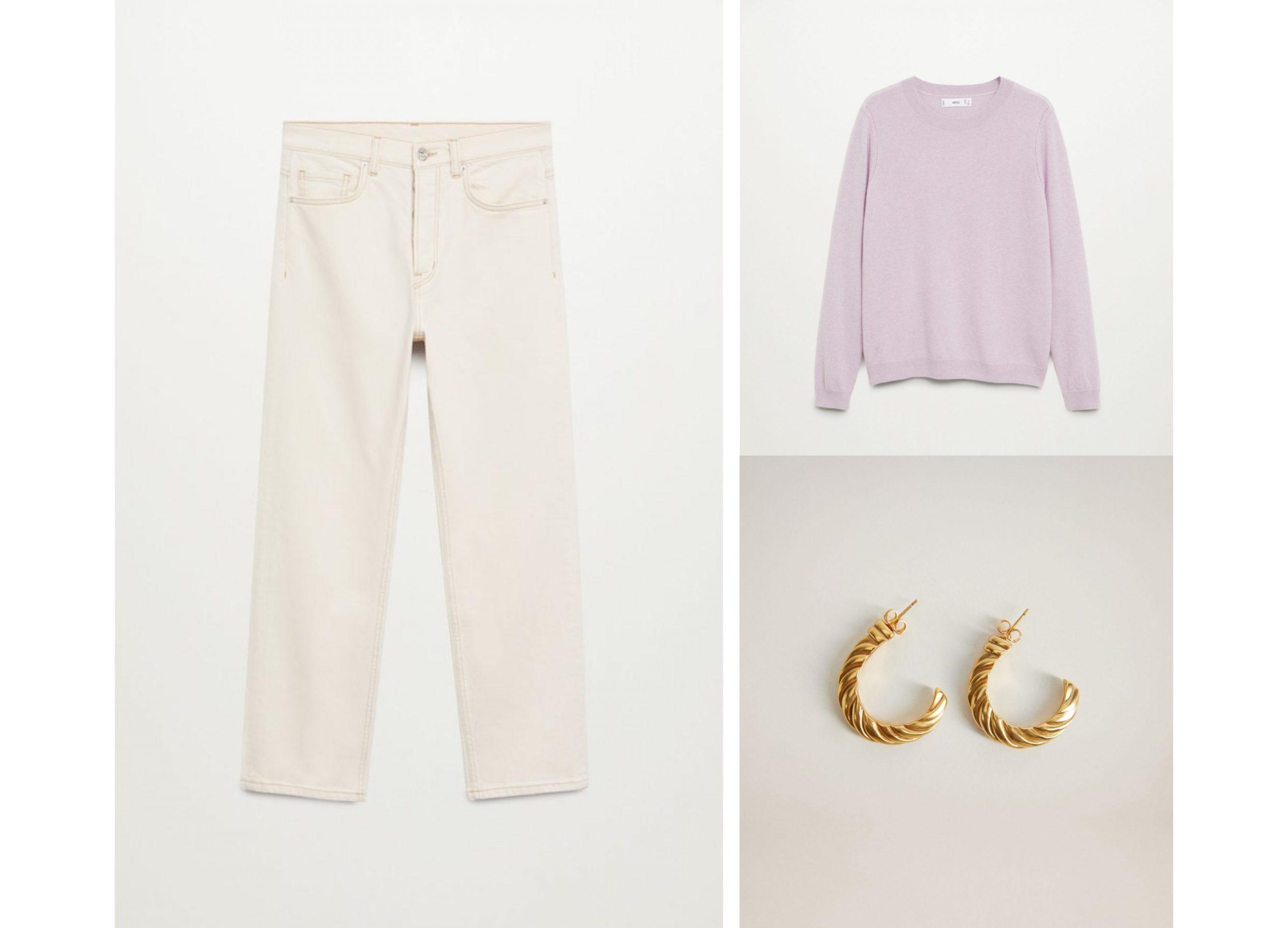 Conjunto de Mango formado por pantalones de Aitor recto blancos, un jersey color lila y pendientes dorados.
