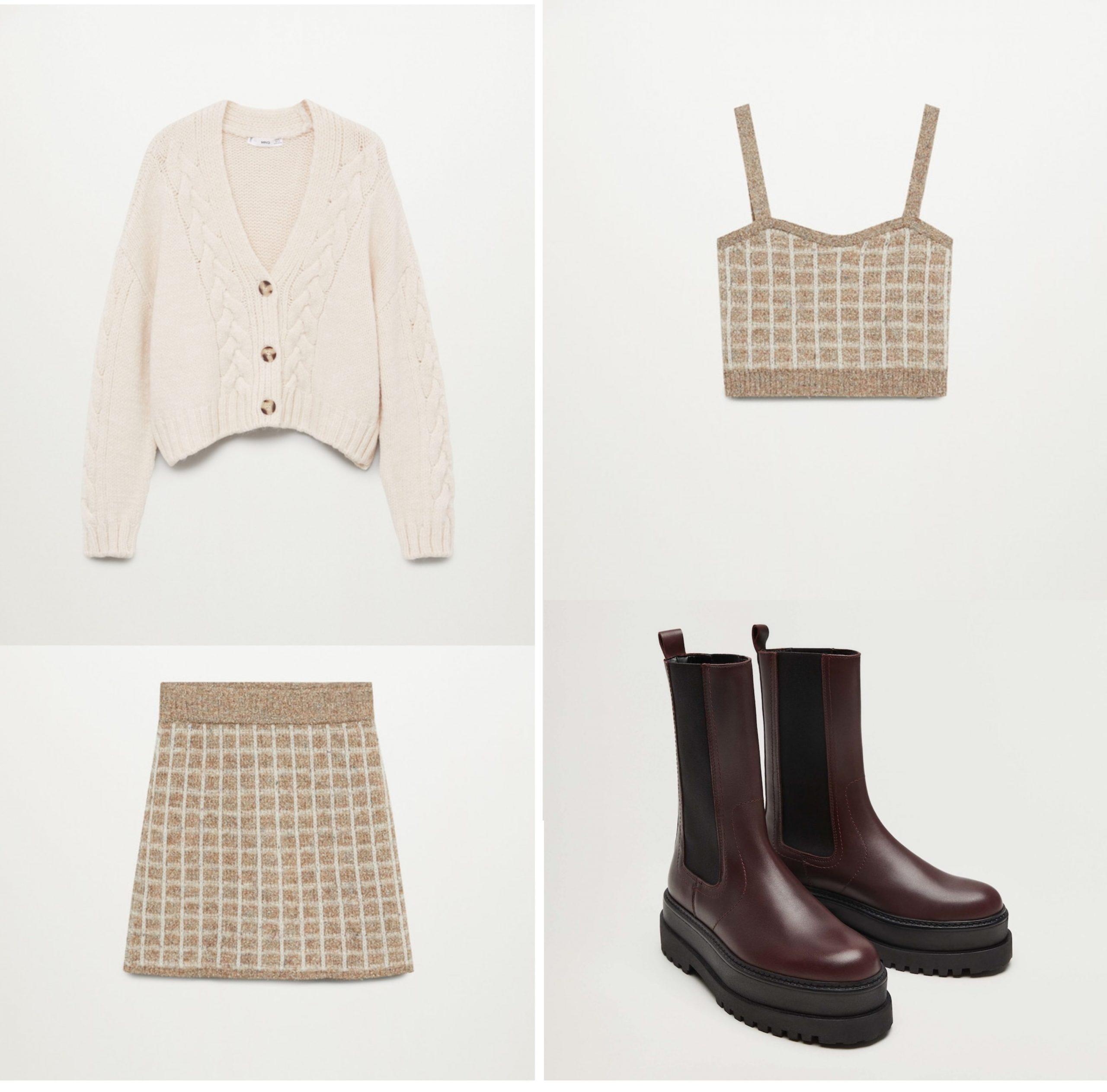 Conjunto de Mango formado por una falda y un top de cuadros de lana, botas con plataforma y gomas laterales de color granate y chaqueta de lana color beige.