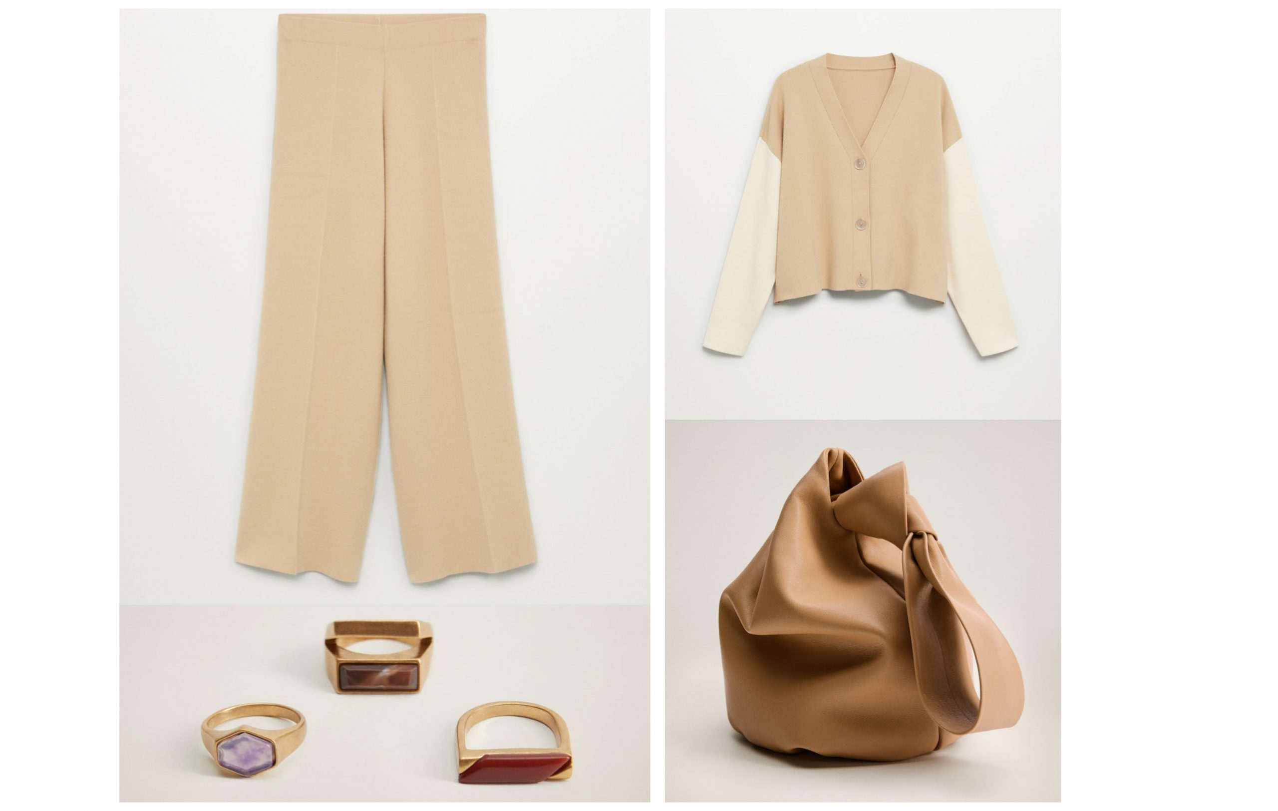 Conjunto de Mango formado por unos pantalones de lana a conjunto con un jersey formado por dos colores, bolso saco y un set de anillos con detalles de piedras.