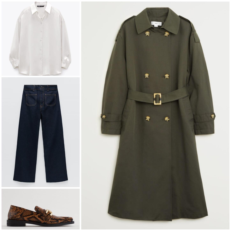 Segundo look: Camisa, pantalones y mocasines de Zara y gabardina de Mango
