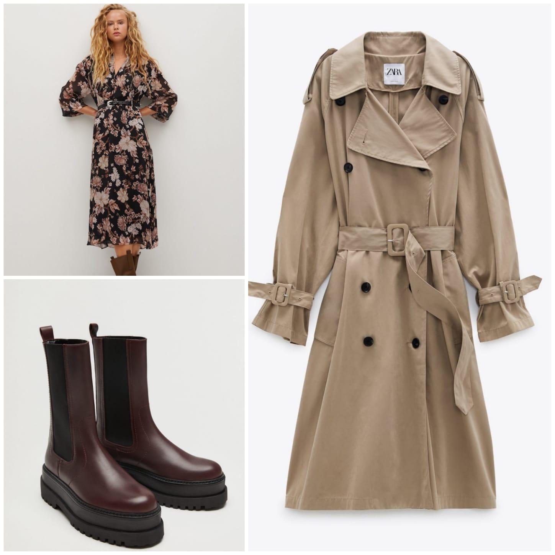 primer look: vestido y botas de Mango y gabardina de Zara