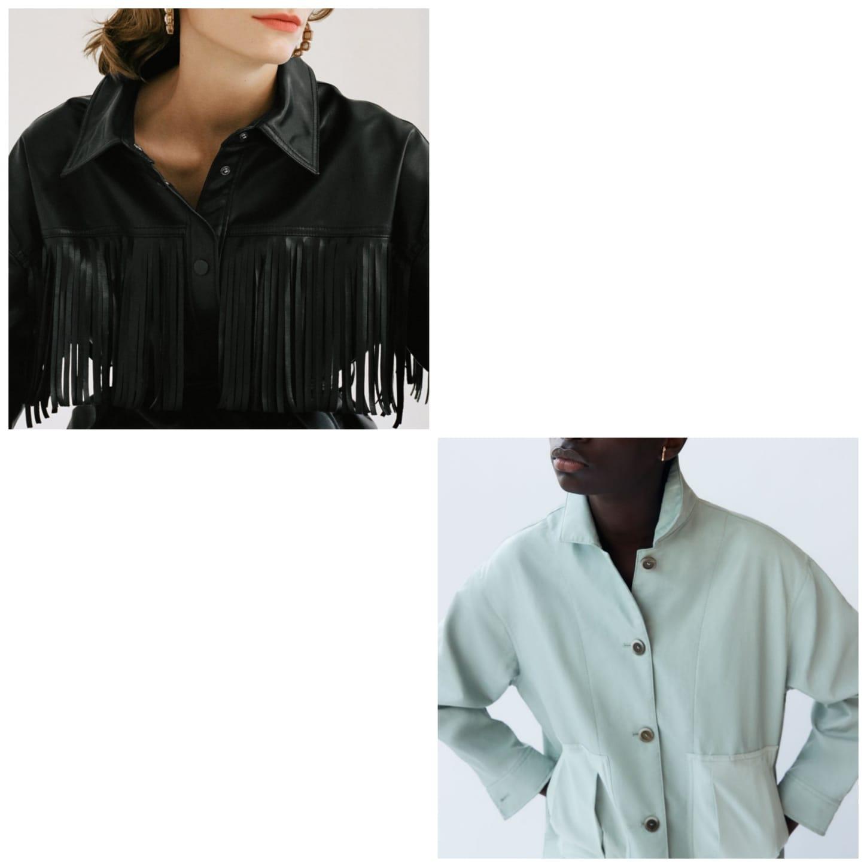 chaqueta de piel con y sin flecos