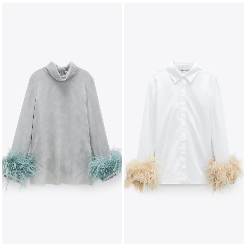 blusa y camisa con plumas