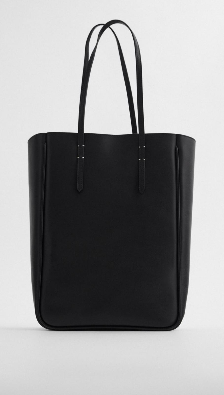 Bolso shopper rectangular de piel con asa al hombro de color negro, de Zara (79'95€)