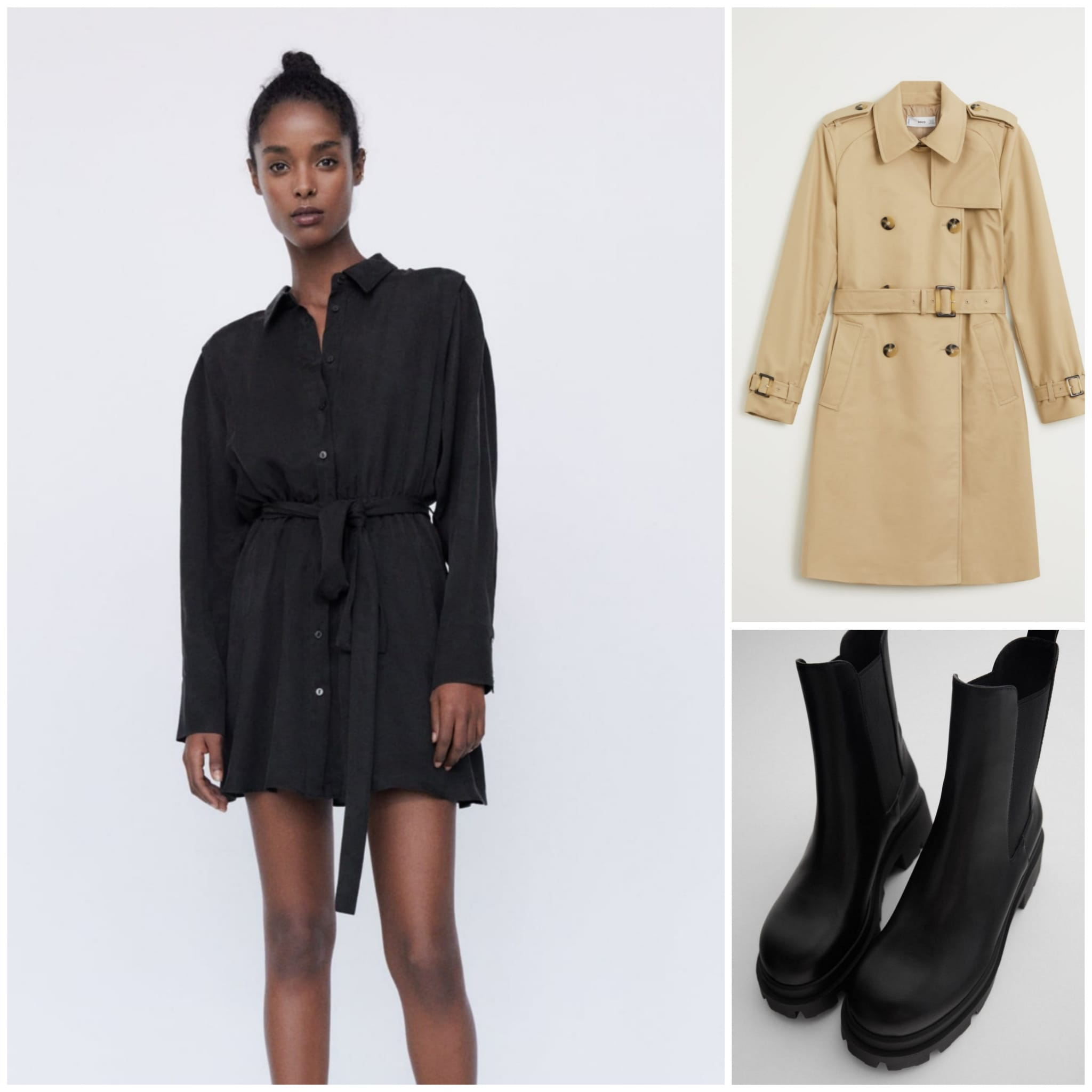 Vestido camisero con lazada negro, en Zara Botas track negras, de Zara Trench clásico color beis, de Mango