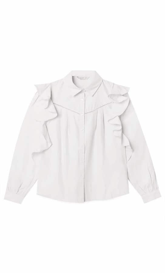 Camisa blanca volantes Stradivarius