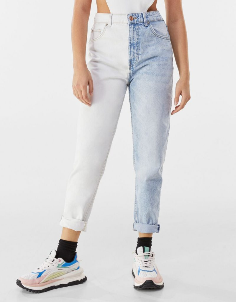 Jeans patchwork two tone