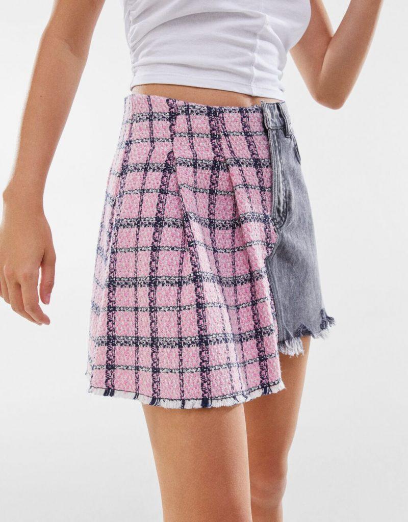 falda patchwork bershka