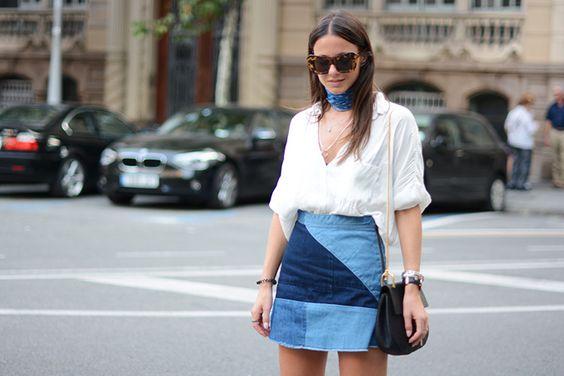 look camisa falda patchwork
