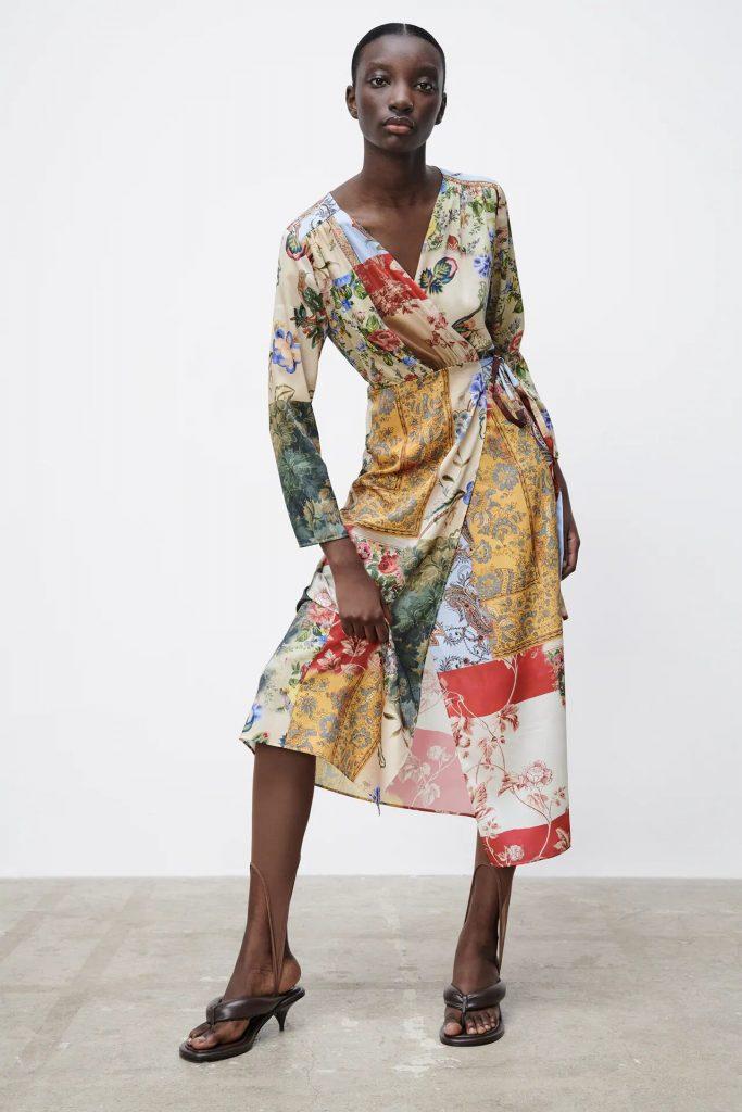 zara vestido patchwork