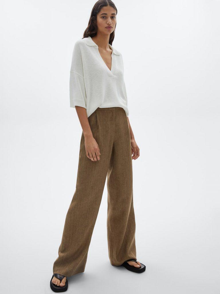 Pantalón rayas 100% lino.