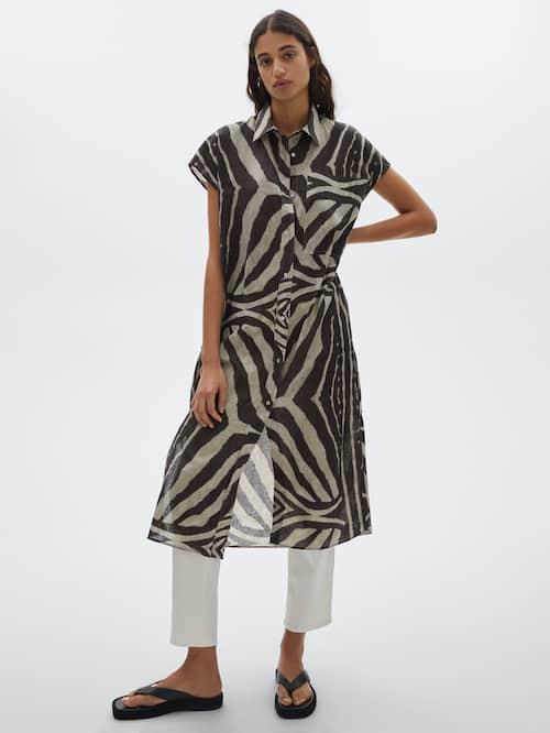 Vestido estampado cebra algodón lino.